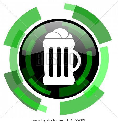 beer icon, green modern design glossy round button, web and mobile app design illustration