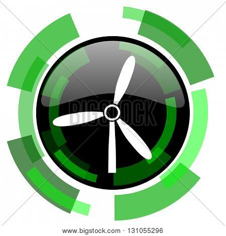 windmill icon, green modern design glossy round button, web and mobile app design illustration