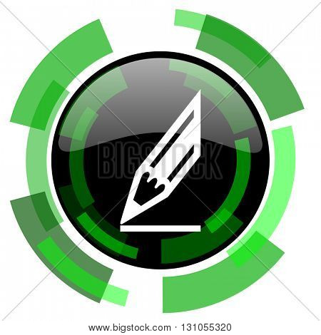 pencil icon, green modern design glossy round button, web and mobile app design illustration