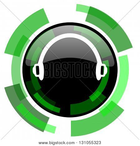 headphones icon, green modern design glossy round button, web and mobile app design illustration