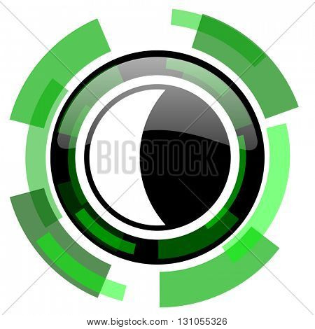 moon icon, green modern design glossy round button, web and mobile app design illustration