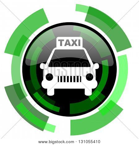 taxi icon, green modern design glossy round button, web and mobile app design illustration
