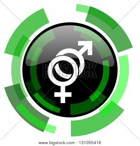 sex icon, green modern design glossy round button, web and mobile app design illustration