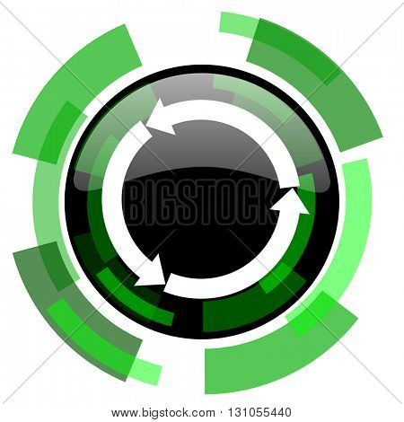 refresh icon, green modern design glossy round button, web and mobile app design illustration