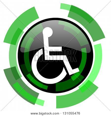 wheelchair icon, green modern design glossy round button, web and mobile app design illustration