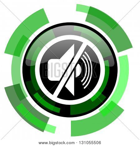 mute icon, green modern design glossy round button, web and mobile app design illustration