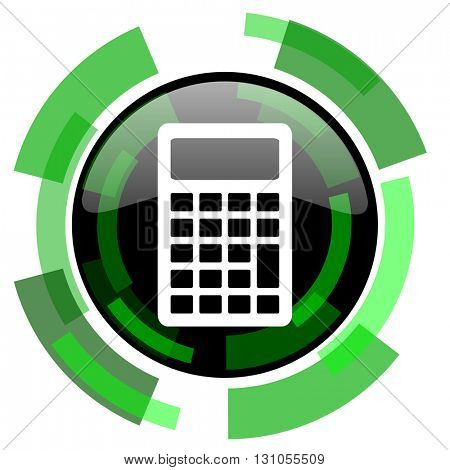 calculator icon, green modern design glossy round button, web and mobile app design illustration
