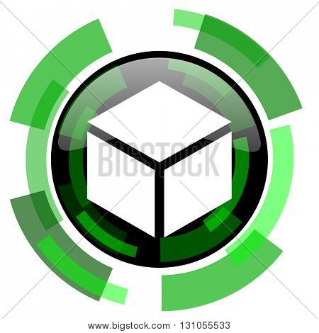 box icon, green modern design glossy round button, web and mobile app design illustration