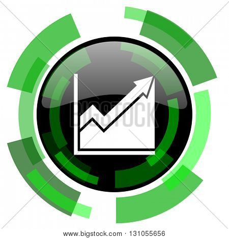 histogram icon, green modern design glossy round button, web and mobile app design illustration