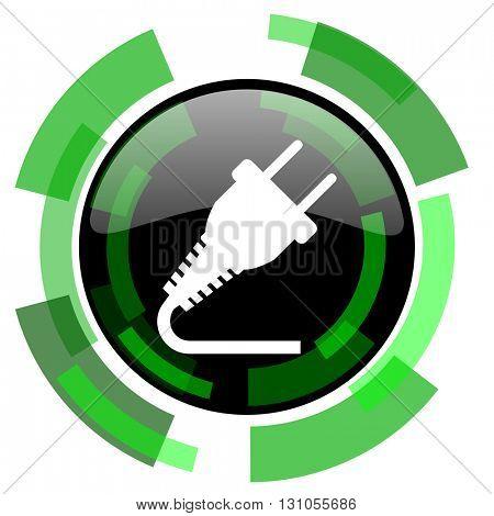 plug icon, green modern design glossy round button, web and mobile app design illustration