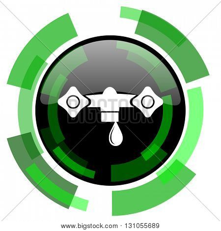 water icon, green modern design glossy round button, web and mobile app design illustration