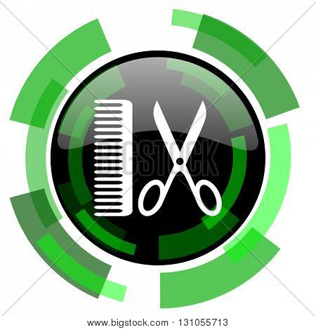 barber icon, green modern design glossy round button, web and mobile app design illustration