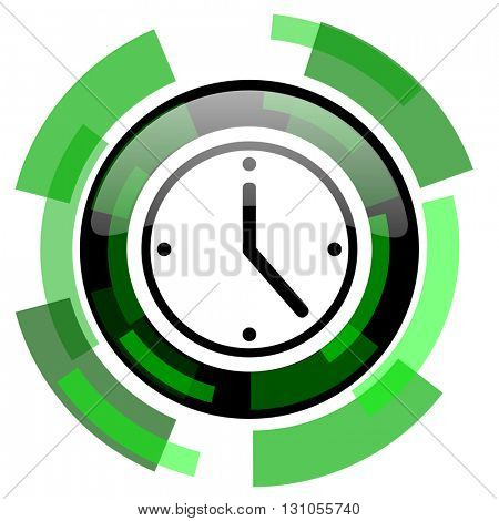 time icon, green modern design glossy round button, web and mobile app design illustration