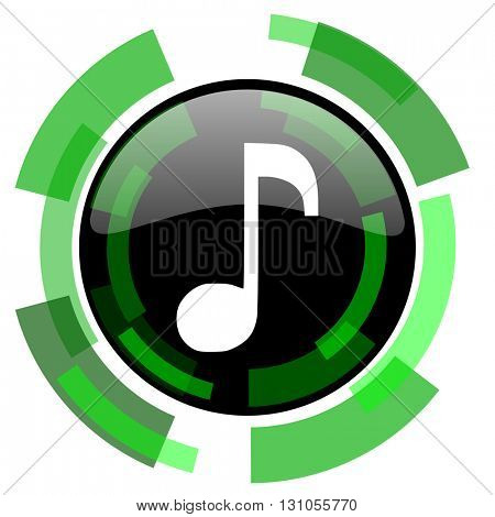 music icon, green modern design glossy round button, web and mobile app design illustration