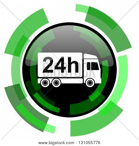 delivery icon, green modern design glossy round button, web and mobile app design illustration