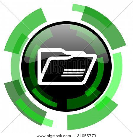 folder icon, green modern design glossy round button, web and mobile app design illustration