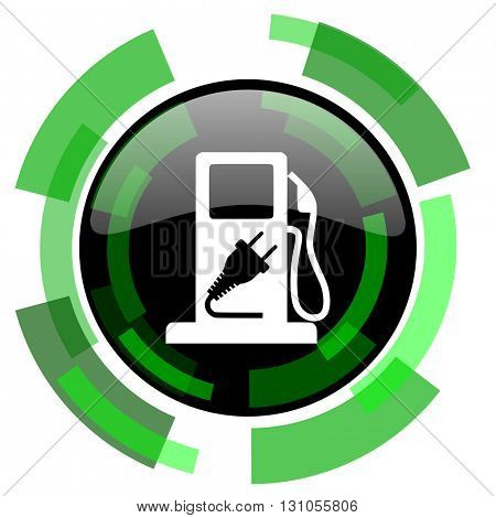 fuel icon, green modern design glossy round button, web and mobile app design illustration