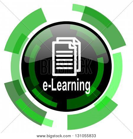 learning icon, green modern design glossy round button, web and mobile app design illustration