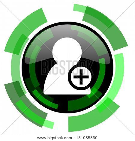 add contact icon, green modern design glossy round button, web and mobile app design illustration