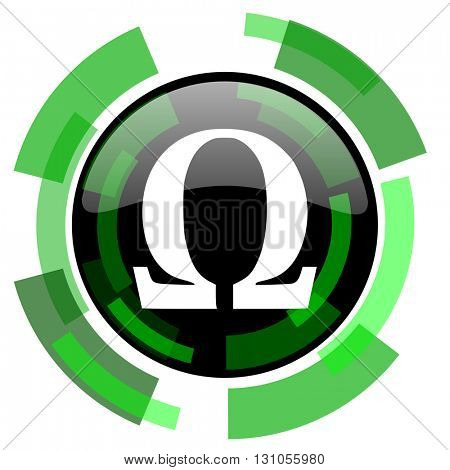 omega icon, green modern design glossy round button, web and mobile app design illustration