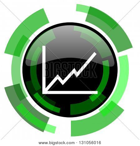 chart icon, green modern design glossy round button, web and mobile app design illustration