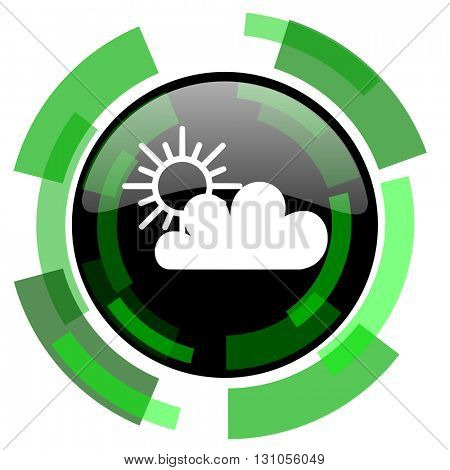 cloud icon, green modern design glossy round button, web and mobile app design illustration