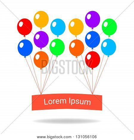 Colorful balloons flat style card template, vector illustration