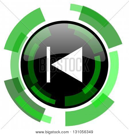 prev icon, green modern design glossy round button, web and mobile app design illustration