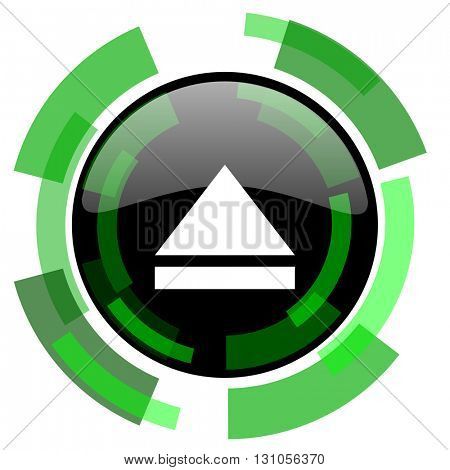 eject icon, green modern design glossy round button, web and mobile app design illustration