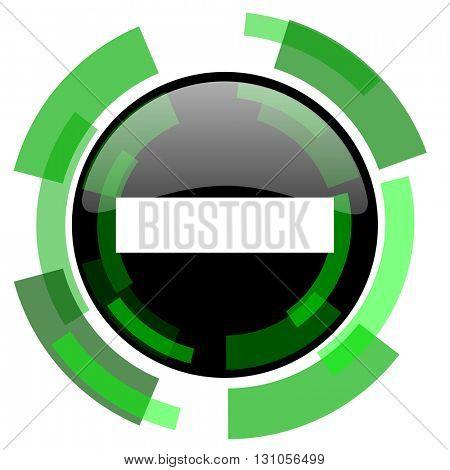 minus icon, green modern design glossy round button, web and mobile app design illustration