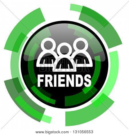 friends icon, green modern design glossy round button, web and mobile app design illustration