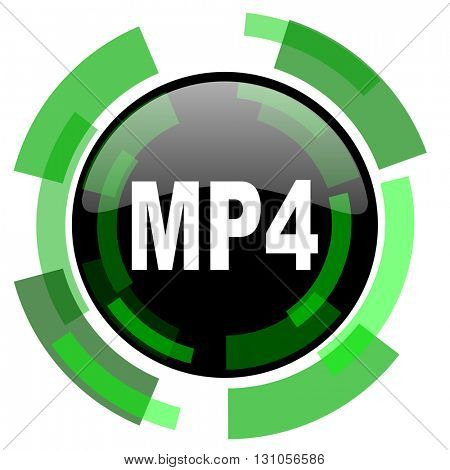 mp4 icon, green modern design glossy round button, web and mobile app design illustration