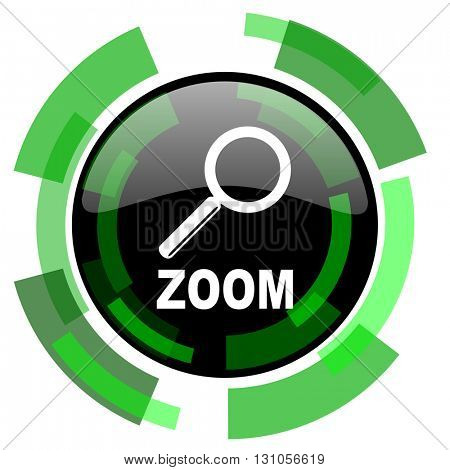 zoom icon, green modern design glossy round button, web and mobile app design illustration