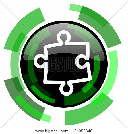 puzzle icon, green modern design glossy round button, web and mobile app design illustration
