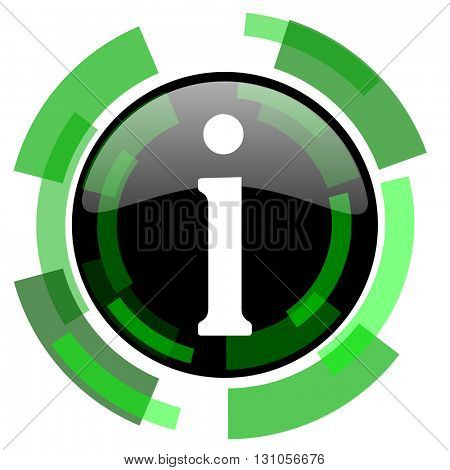 information icon, green modern design glossy round button, web and mobile app design illustration