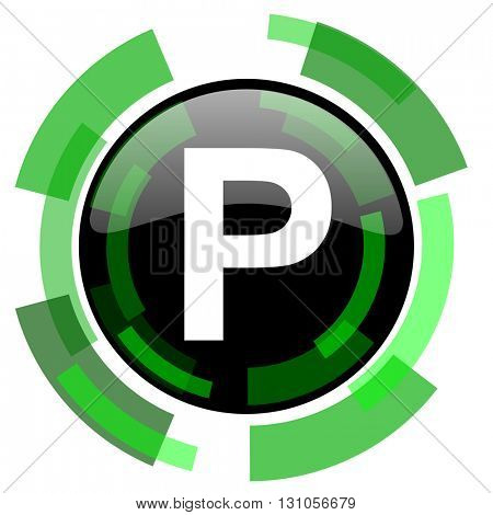 parking icon, green modern design glossy round button, web and mobile app design illustration