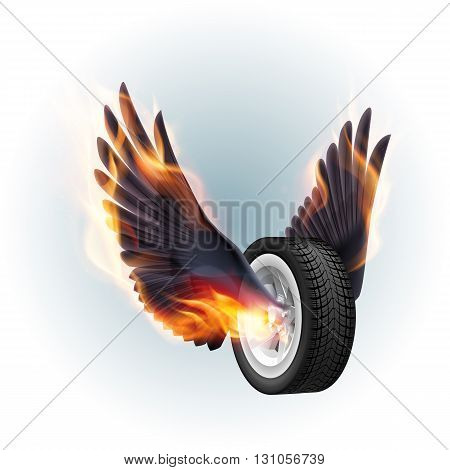 Wheel with fire wings isolated on white background