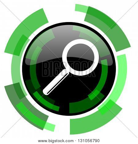 search icon, green modern design glossy round button, web and mobile app design illustration