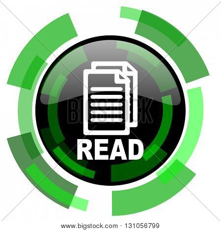 read icon, green modern design glossy round button, web and mobile app design illustration