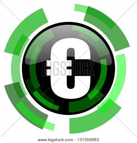 euro icon, green modern design glossy round button, web and mobile app design illustration