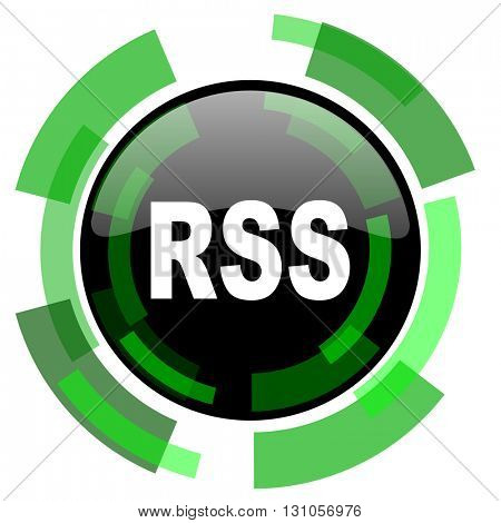 rss icon, green modern design glossy round button, web and mobile app design illustration