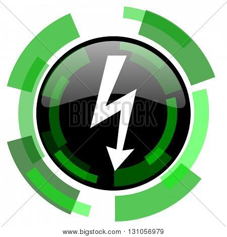 bolt icon, green modern design glossy round button, web and mobile app design illustration