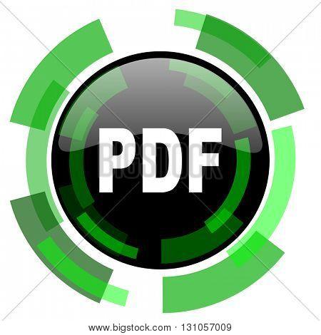 pdf icon, green modern design glossy round button, web and mobile app design illustration