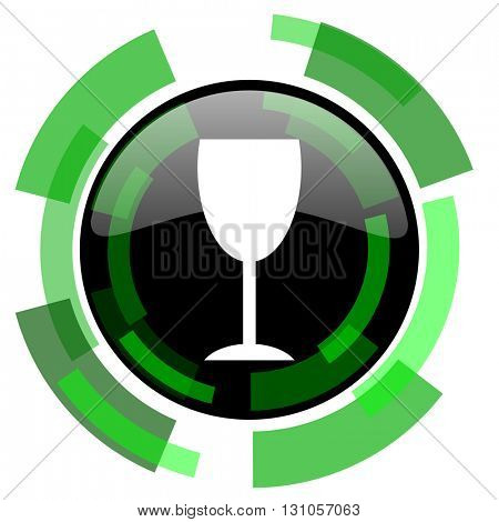 alcohol  icon, green modern design glossy round button, web and mobile app design illustration