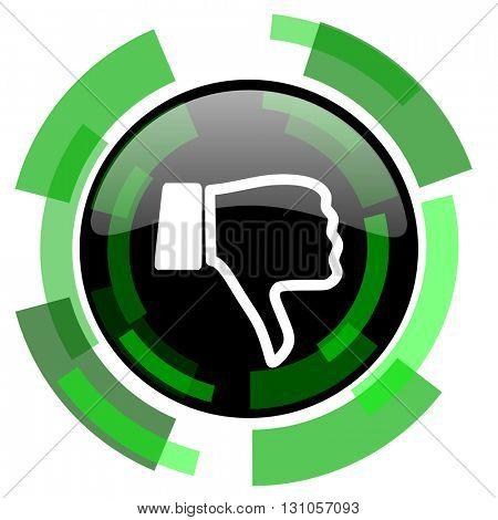 dislike icon, green modern design glossy round button, web and mobile app design illustration