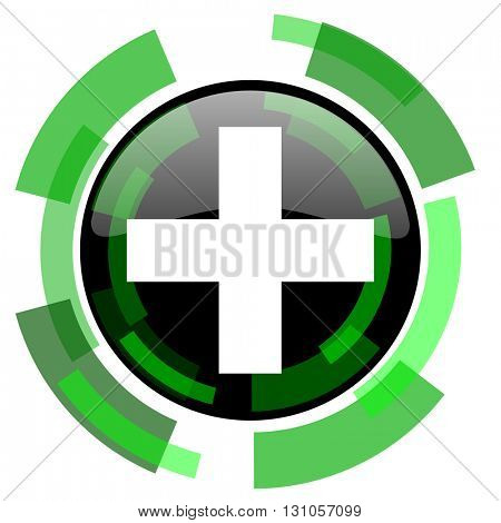 plus icon, green modern design glossy round button, web and mobile app design illustration