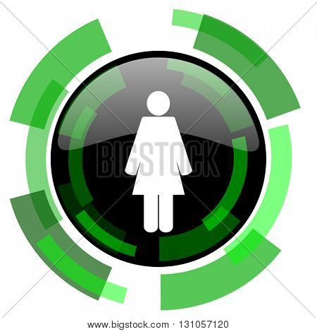 female icon, green modern design glossy round button, web and mobile app design illustration