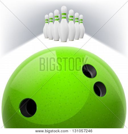Green Bowling ball with holes in front. White skittles with red stripes on a white background