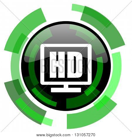 hd display icon, green modern design glossy round button, web and mobile app design illustration