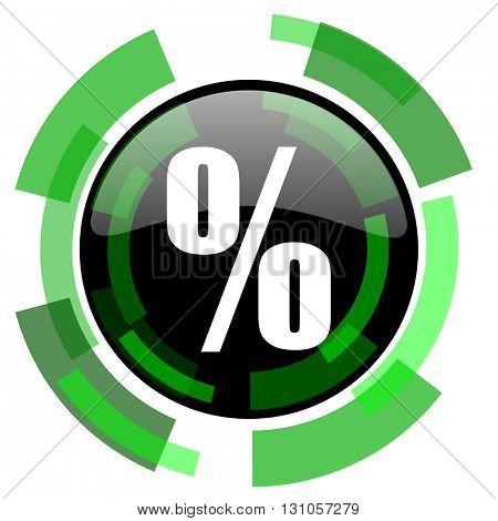percent icon, green modern design glossy round button, web and mobile app design illustration